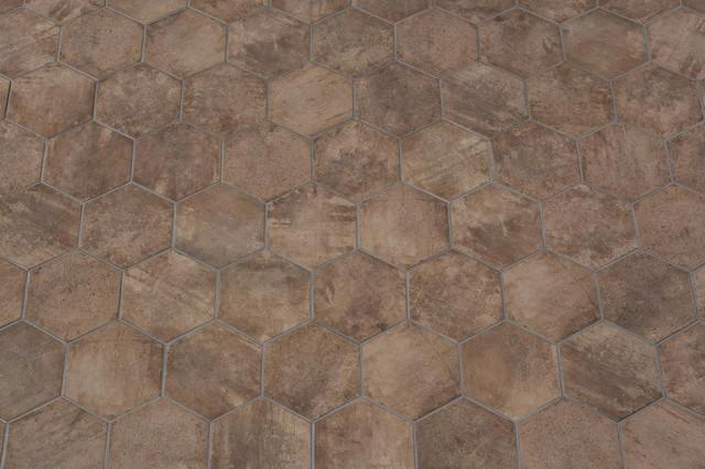 Piastrelle in ceramica esagonali   manoir brown 18,2x21   classico ...
