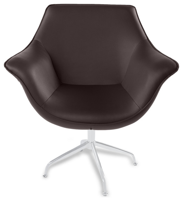 Mala modern swivel occasional chair brown contemporary for Modern swivel accent chair