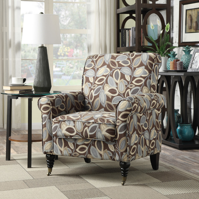 Portfolio Hyde Brown Modern Leaf Pattern Arm Chair