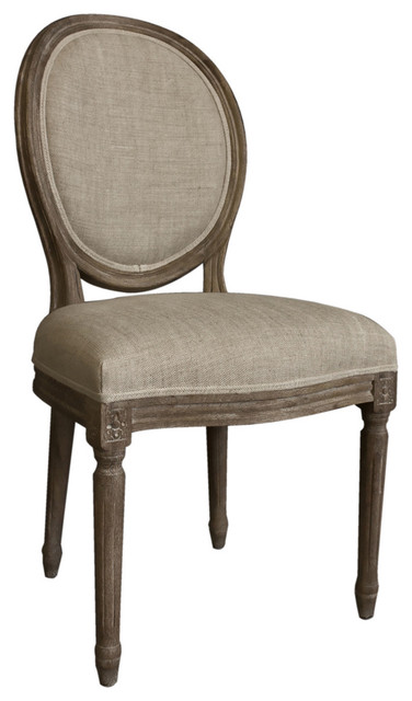 Casual living vintage french round back upholstered linen for Upholstered linen dining chairs