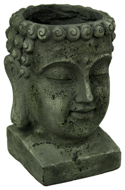 Weathered Finish Large Buddha Head Planter 13 5 Tall