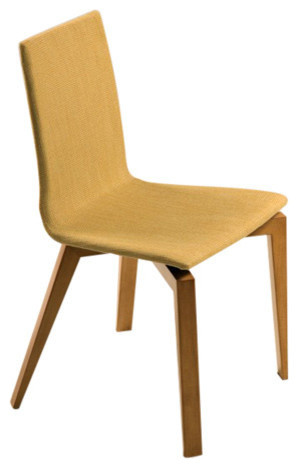 Slip U Upholstered Plyshell Maple Dining Chair Aurora Finish Ramie Upholst