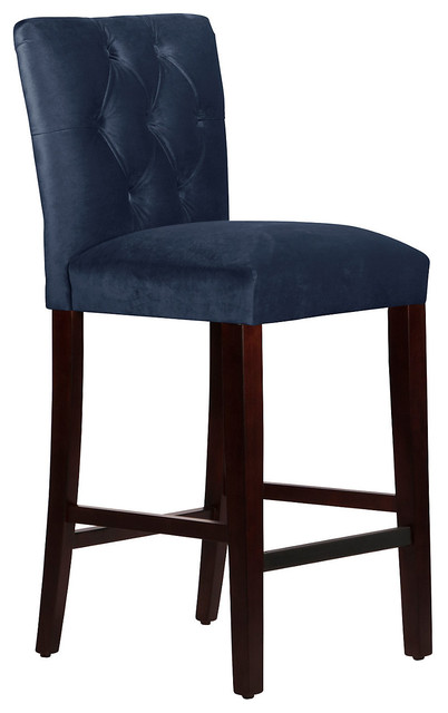 Croft Tufted Stool Navy Contemporary Bar Stools And