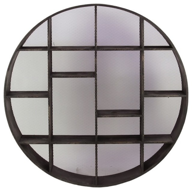 Benzara Contemporary Style Wooden Circle Shelf in Black - Asian - Display And Wall Shelves - by ...