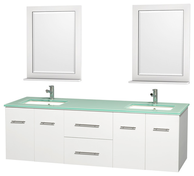 Simple  Bathe Bridgeport 48 Inch White Bathroom Vanity Mint Green Glass Top