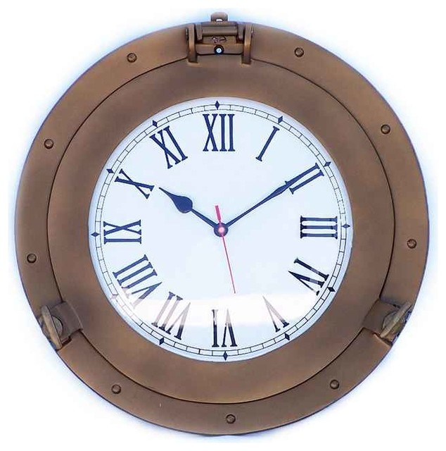 decorative ship porthole clock antique brass 15 beach style wall clocks by handcrafted. Black Bedroom Furniture Sets. Home Design Ideas