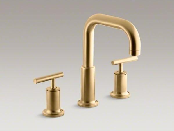 Kohler Purist R Deck Mount Bath Faucet Trim For High Flow Valve With Lever Hand Contemporary