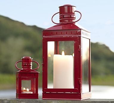 Harwich Metal Lantern, Small, Red - Traditional - Candleholders - by Pottery Barn