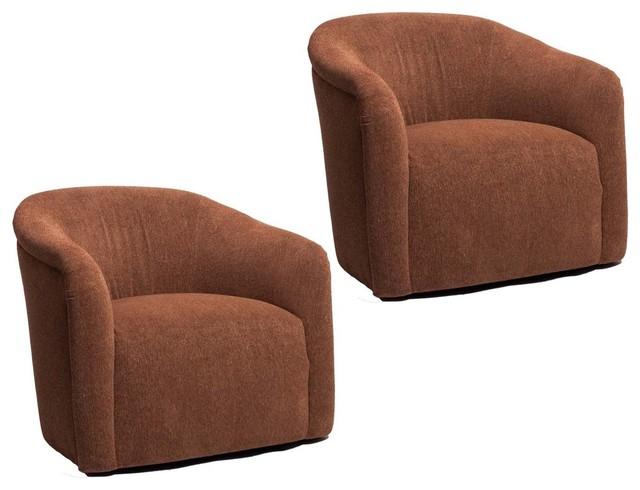 pair of vintage milo baughman swivel chairs modern