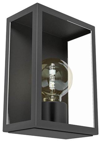 Applique ext rieure nissi noire e27 contemporain for Luminaire exterieur contemporain