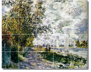 The riverbank at gennevilliers tile mural by claude monet for Cape cinema mural