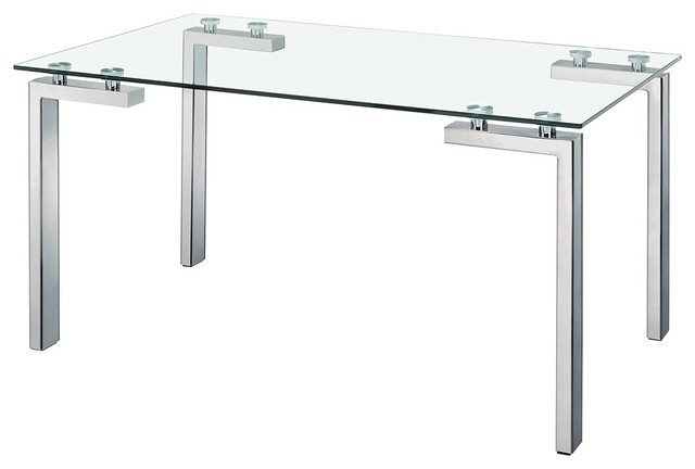Zuo Roca Stainless Steel And Glass Dining Table