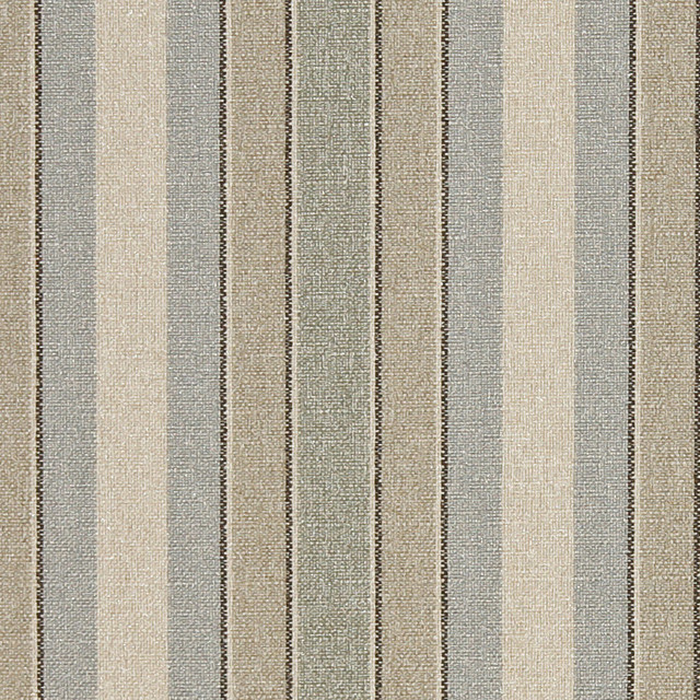 Blue Beige Green Striped Washed Linen Look Woven