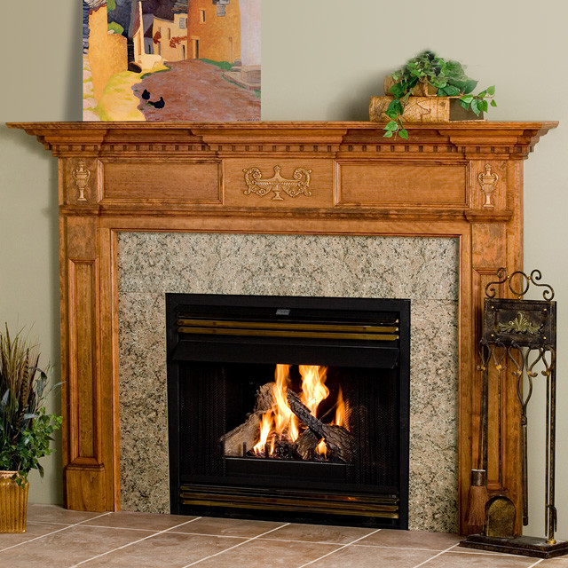 Jeffersonian Wood Fireplace Mantel Traditional Indoor