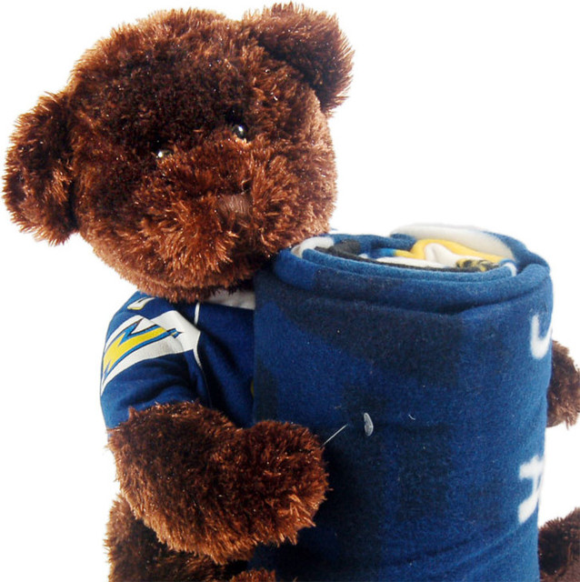 San Diego Chargers Fleece Fabric: NFL San Diego Chargers Teddy Bear Hugger Throw Blanket Set