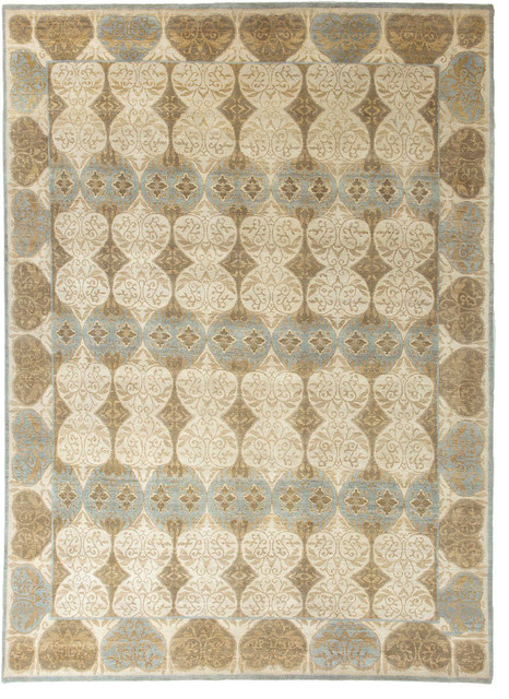 Hand Knotted Abstract Pattern Wool Ivory Blue Area Rug