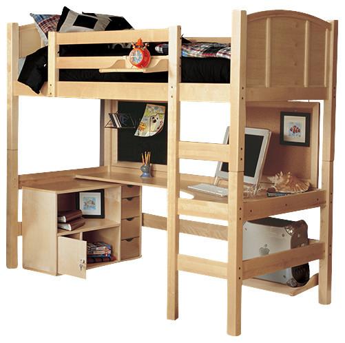 Radia Twin Loft Bed With Media Cart Contemporary Loft