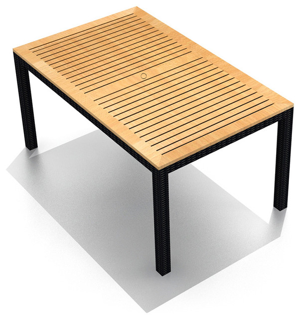 arbor outdoor wicker teak 8 seater rectangular dining