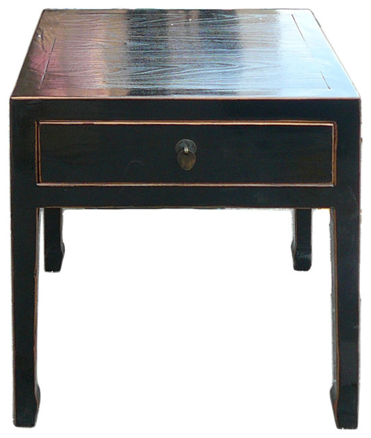 Square black side table with drawer asian nightstands for Japanese bedside table