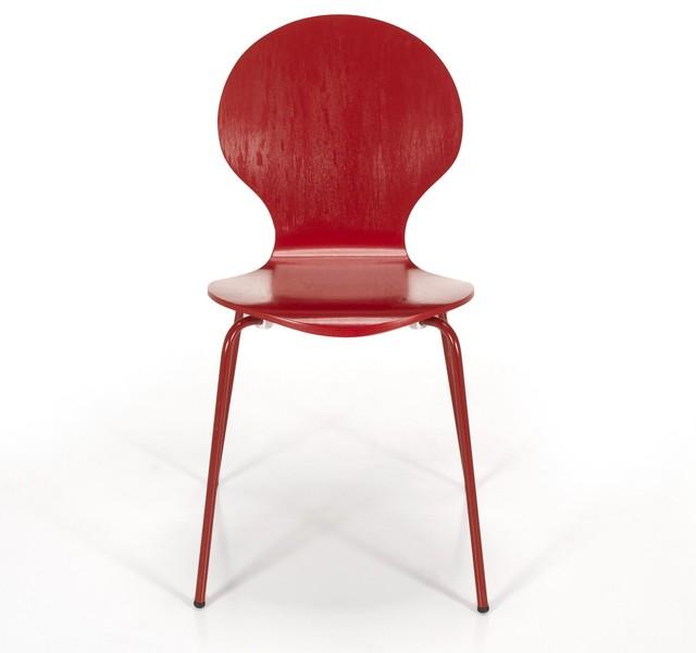 Maddy chaise rouge r tro contemporain chaise de salle for Chaise de salle a manger rouge