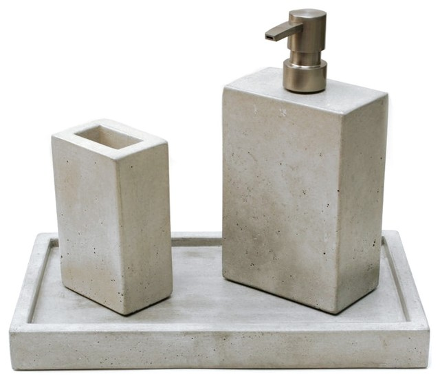 Concrete bath set modern bathroom accessories by for Bath countertop accessories