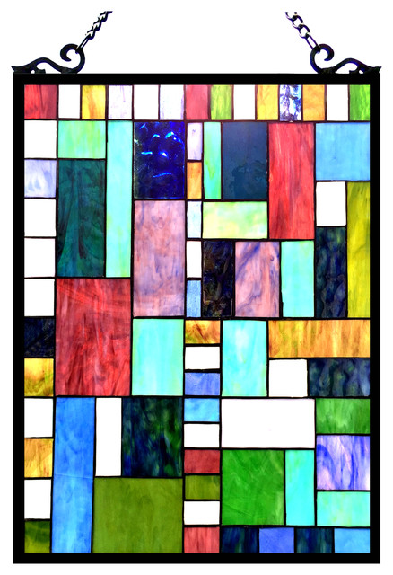 Picasso tiffany glass rectangle window panel 18x24 for 18x24 window