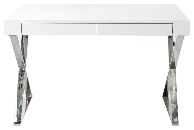 frank 2 drawer desk white lacquer modern desks and hutches by