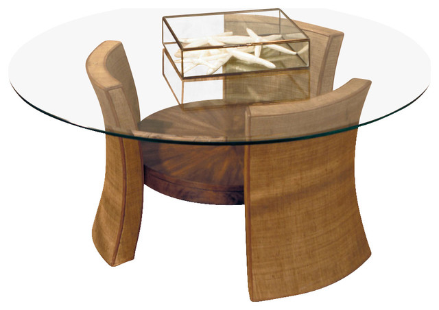 American Drew Grove Point Round Glass Top Cocktail Table In Soft Khaki Traditional Coffee Tables