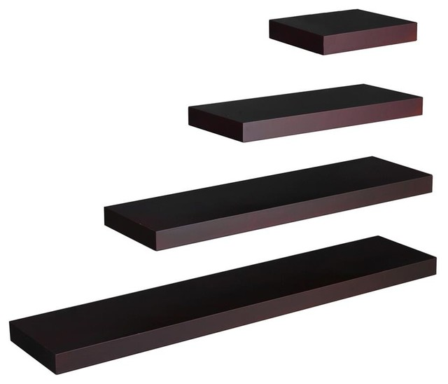 Chicago 4 Pc Floating Shelf Set Espresso Modern