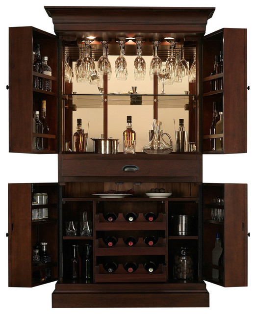 Arianna brown stain home bar wine cabinet contemporary wine and bar cabinets by - Contemporary bar cabinet on a small budget ...