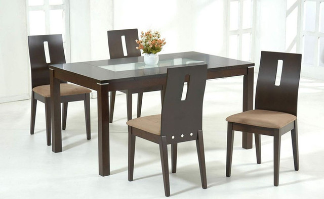 Stylish Wooden and Frosted Glass Top Microfiber Seats  : modern dining tables from www.houzz.com size 640 x 394 jpeg 52kB