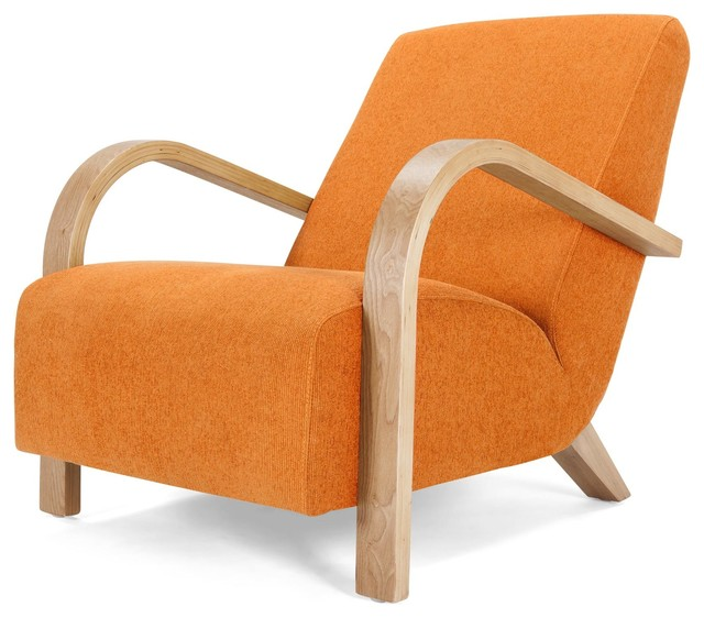Accent Seating Orange Accent Chair With Contemporary: Grace Armchair, Lava Orange