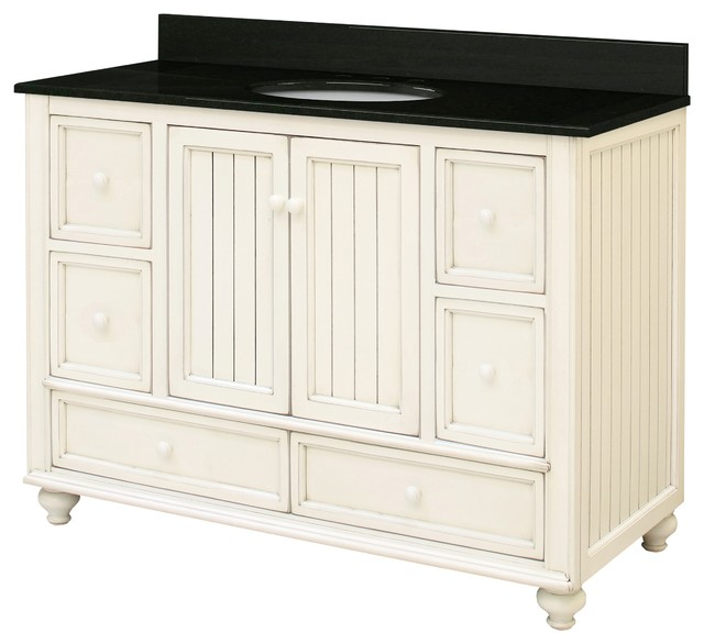 Bristol Beach Assembled Vanity, 2 Doors, 2 Small Drawers, and 2 Bottom Drawers - Traditional ...