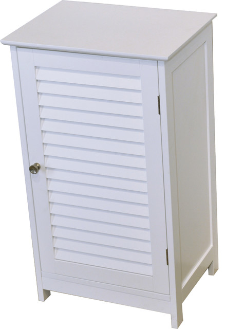"""Bathroom Storage Floor Cabinet FLORENCE Louver White 27""""x15.7"""" - Beach Style - Bathroom Cabinets ..."""