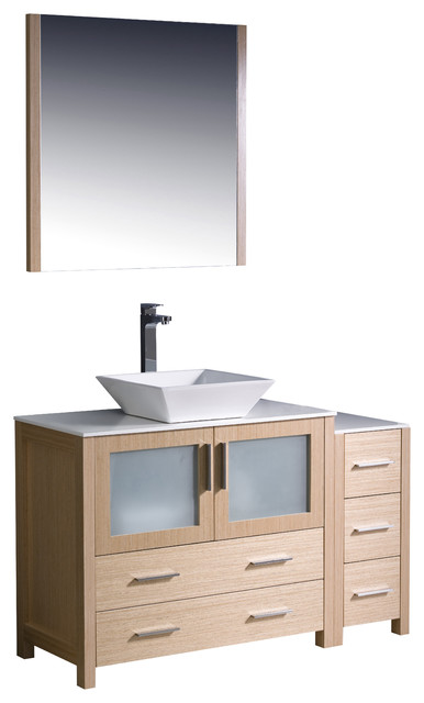 Fresca Torino 48 Light Oak Vanity W Side Cabinet Sink Modern