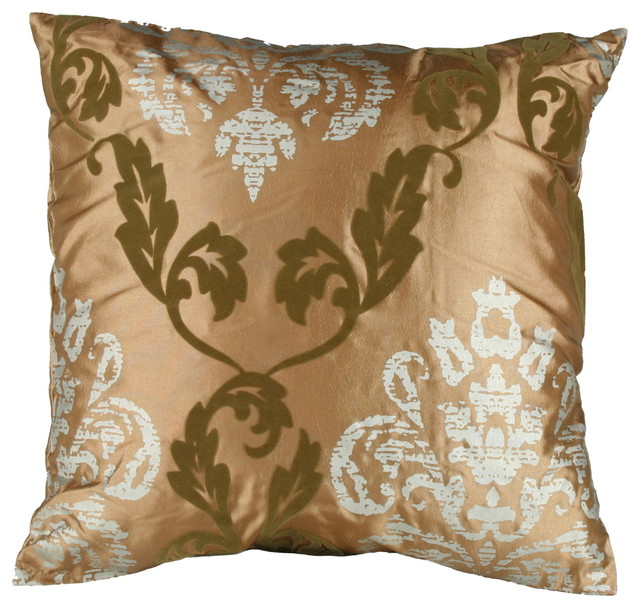 Eclectic Decorative Pillows : Gold Flocked Medallion Print Pillow 16