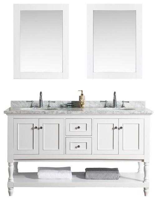 Cape Cod  Bathroom Vanity And Mirror White Traditional Bathroom Vanities And Sink