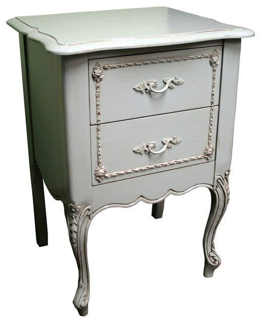 Country french two drawer nightstand modern for French nightstand bedside table