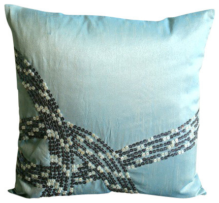 Light Blue Silk Throw Pillow : Mother Of Pearls Blue Art Silk Pillow Covers, Sea Wave - Contemporary - Decorative Pillows - by ...