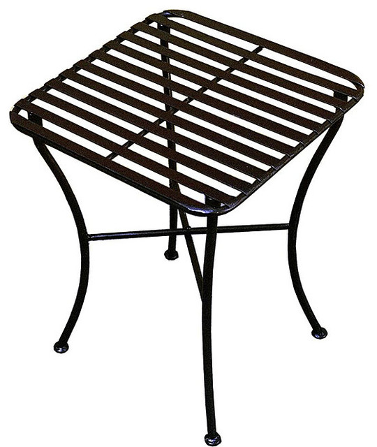 outdoor square black iron folding side table contemporary outdoor side tables by. Black Bedroom Furniture Sets. Home Design Ideas