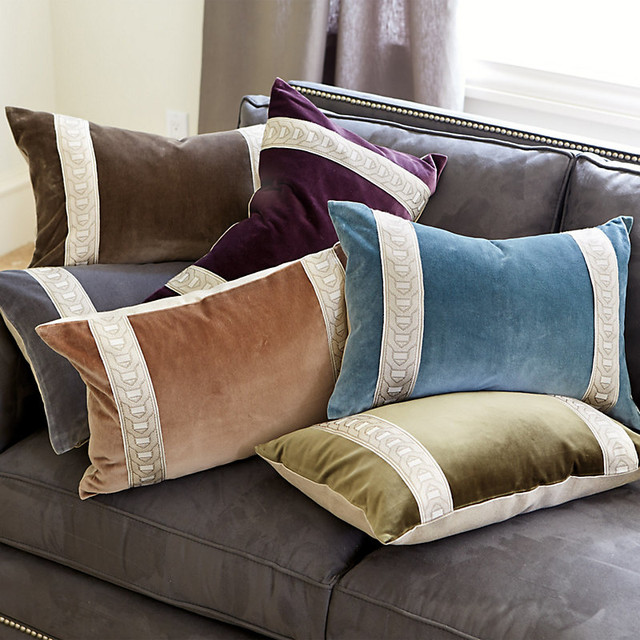 Decorative Pillow Trim : Signature Velvet Pillow Cover with Chain Tape Trim traditional-decorative-pillows