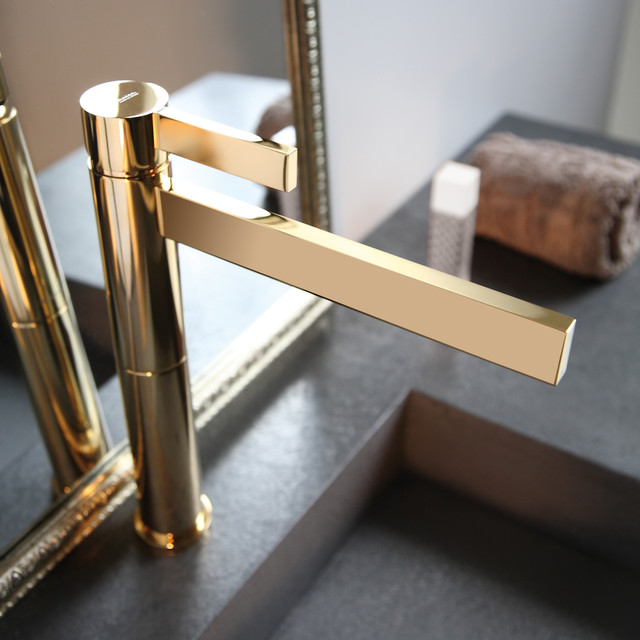 Lastest Widespread Sink Faucet Shiny Gold  Contemporary  Bathroom Faucets