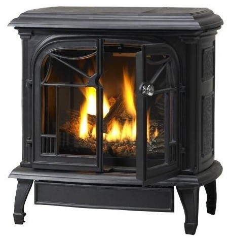 Customizable Cast Iron Stove With Gas Burner System, Natural Iron, B-Vent, Natur - Traditional ...