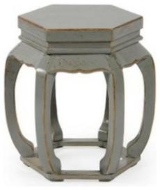 Hexagonal stool misty gray crackle asiatisch for Gartenmobel asiatisch