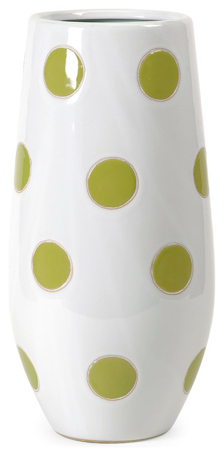 Essentials green apple polka dot vase contemporary for Dot wall vase