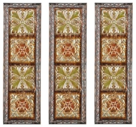 embossed tile panel set of 3 eclectic home decor
