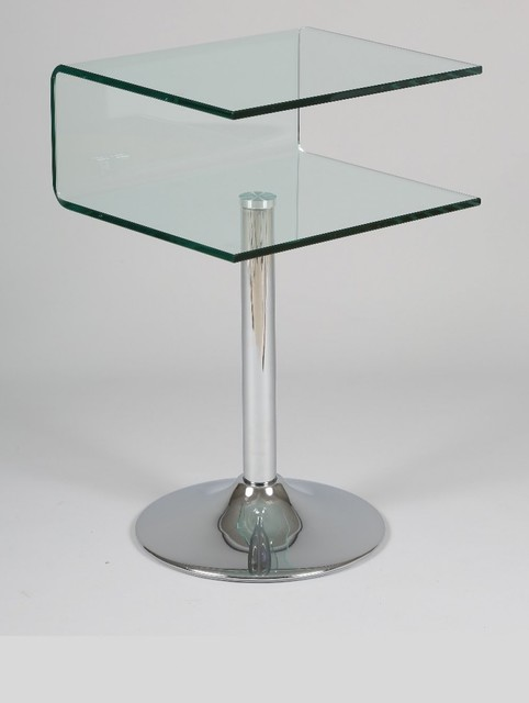 Gu ridon clipper verre transparent contemporain table for Table bout de canape en verre