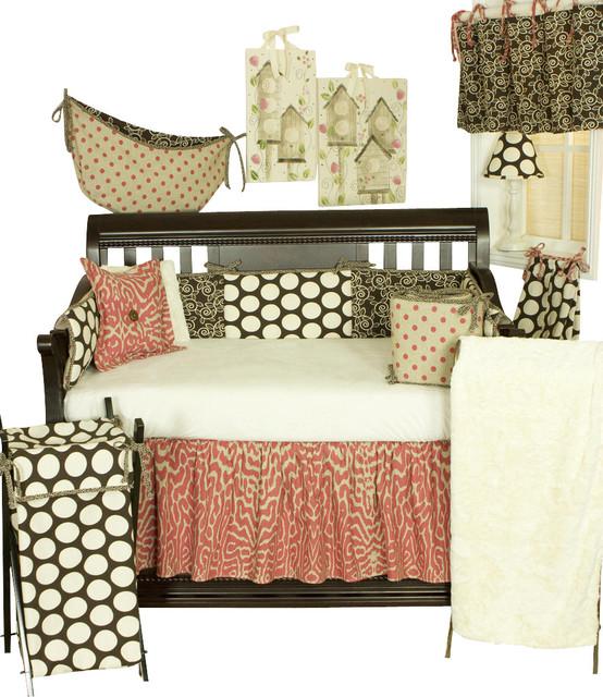 Raspberry Dot 8pc Crib Bedding Set Modern Cot Bedding
