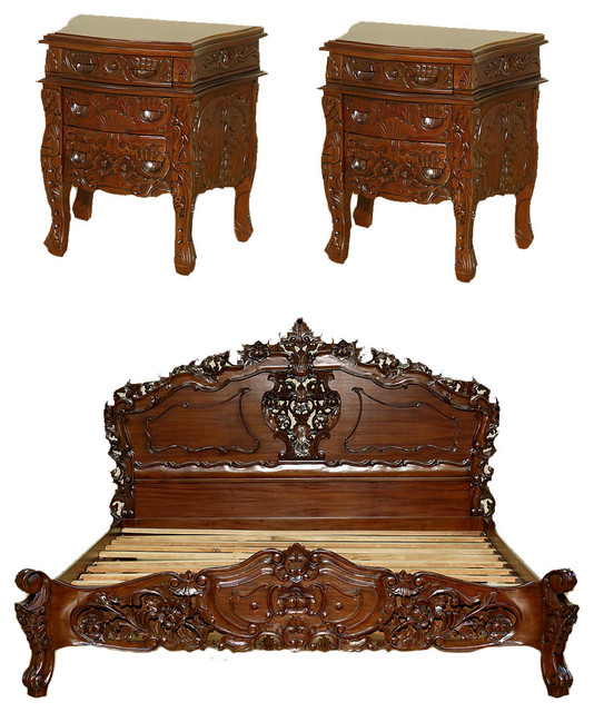 Solid Mahogany French Rococo Carved King Bed Set With 2