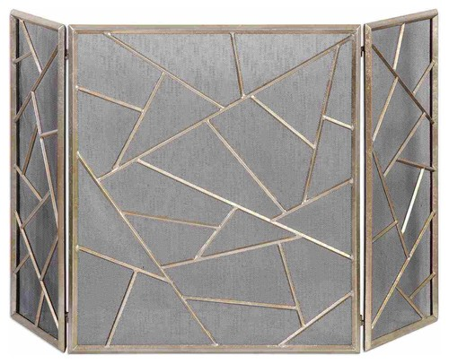 Uttermost Armino Modern Fireplace Screen in Antique Silver